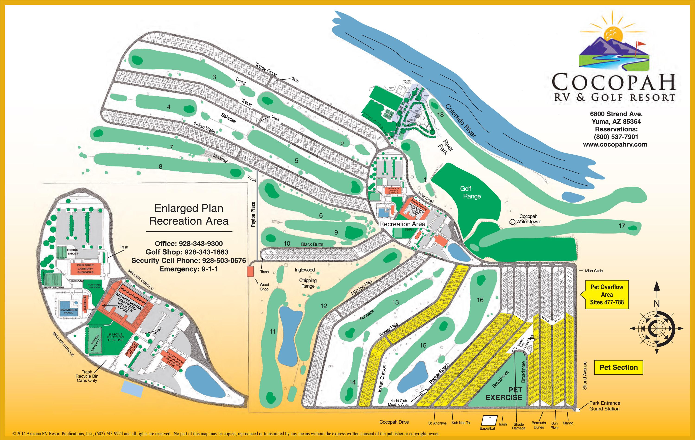 Map Of Yuma Arizona And Surrounding Area.Resort Map Cocopah Rv And Golf Resort